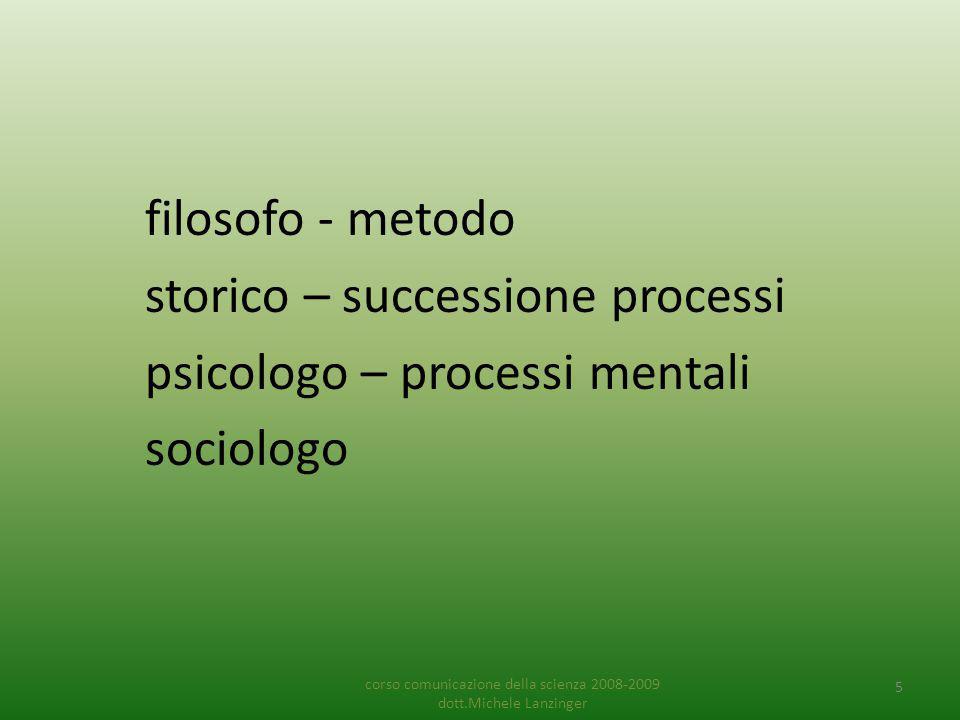 filosofo - metodo storico – successione processi psicologo – processi mentali sociologo corso comunicazione della scienza 2008-2009 dott.Michele Lanzinger 5
