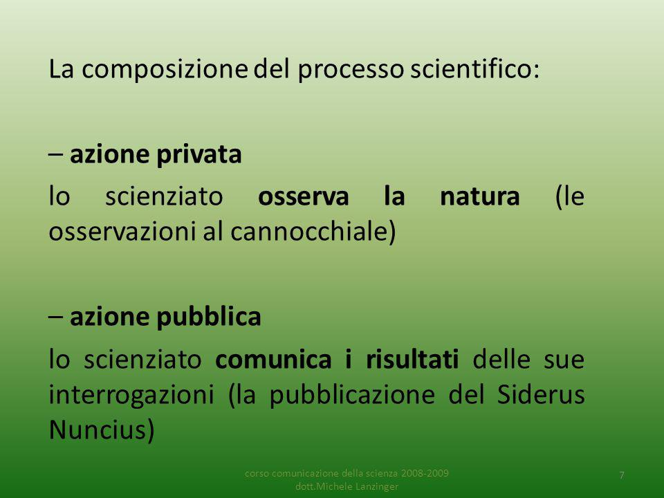 Non esiste scienza senza comunicazione Il principio basilare della scienza è che i risultati della ricerca devono essere resi pubblici.