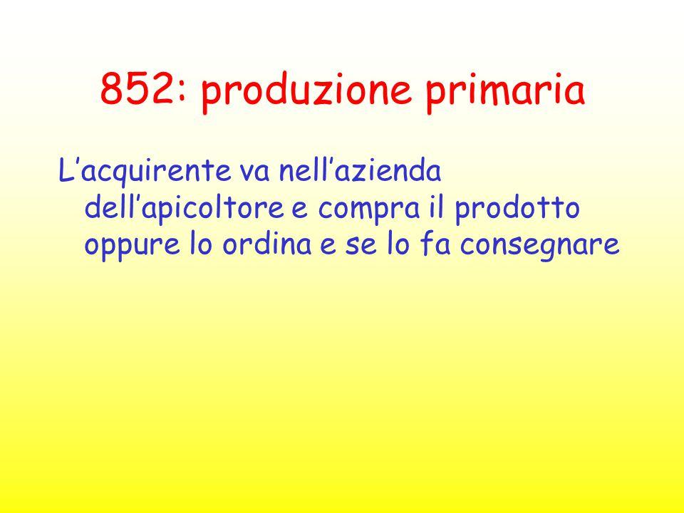 852: produzione primaria L'acquirente va nell'azienda dell'apicoltore e compra il prodotto oppure lo ordina e se lo fa consegnare