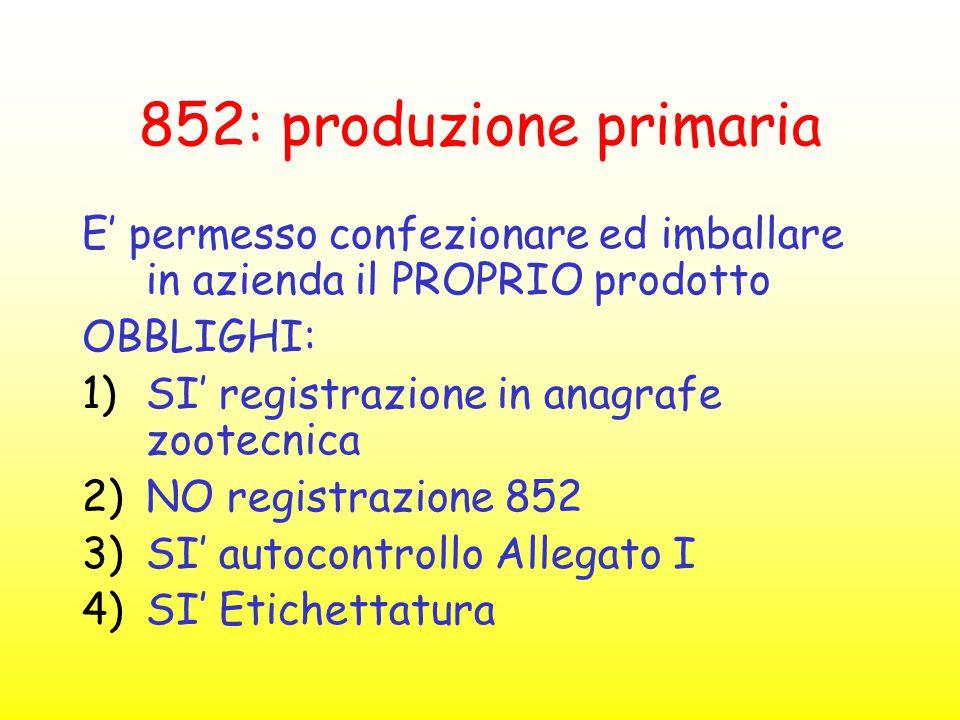 852: produzione primaria E' permesso confezionare ed imballare in azienda il PROPRIO prodotto OBBLIGHI: 1)SI' registrazione in anagrafe zootecnica 2)N