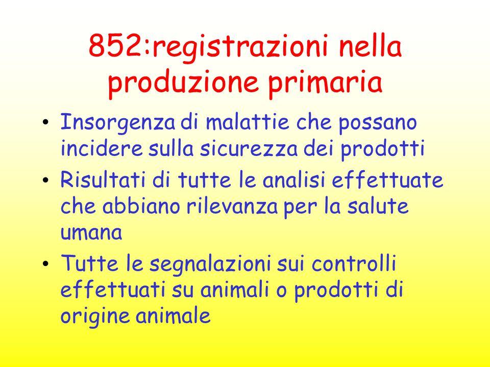 852:registrazioni nella produzione primaria Insorgenza di malattie che possano incidere sulla sicurezza dei prodotti Risultati di tutte le analisi eff