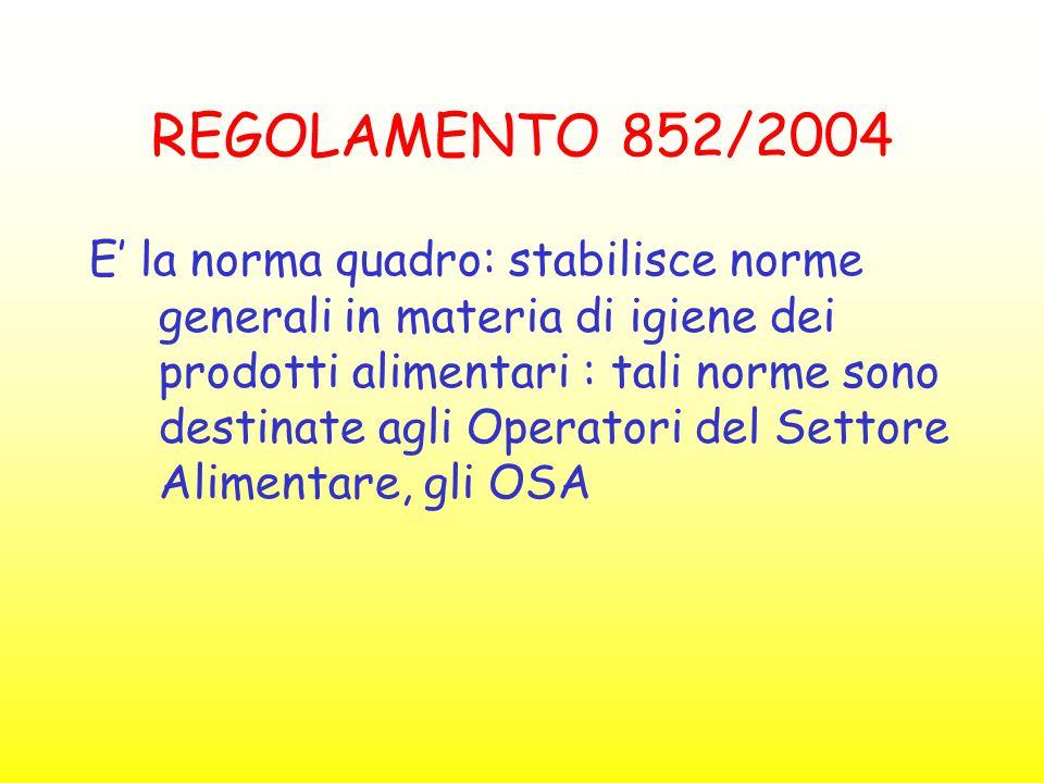 REGOLAMENTO 852/2004 E' la norma quadro: stabilisce norme generali in materia di igiene dei prodotti alimentari : tali norme sono destinate agli Opera
