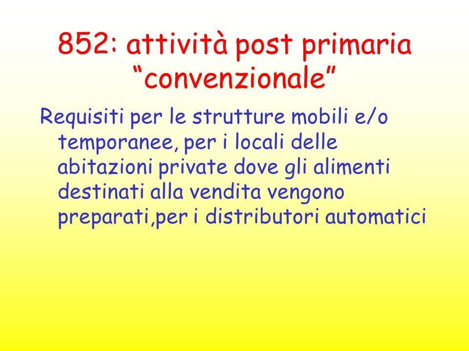 """852: attività post primaria """"convenzionale"""" Requisiti per le strutture mobili e/o temporanee, per i locali delle abitazioni private dove gli alimenti"""