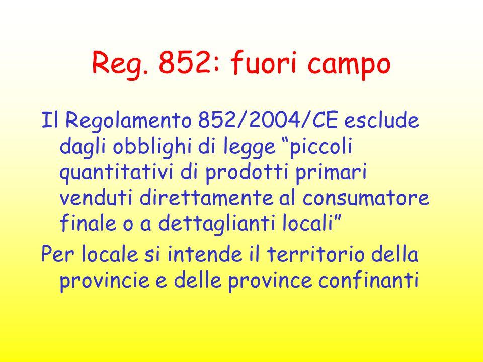 """Reg. 852: fuori campo Il Regolamento 852/2004/CE esclude dagli obblighi di legge """"piccoli quantitativi di prodotti primari venduti direttamente al con"""