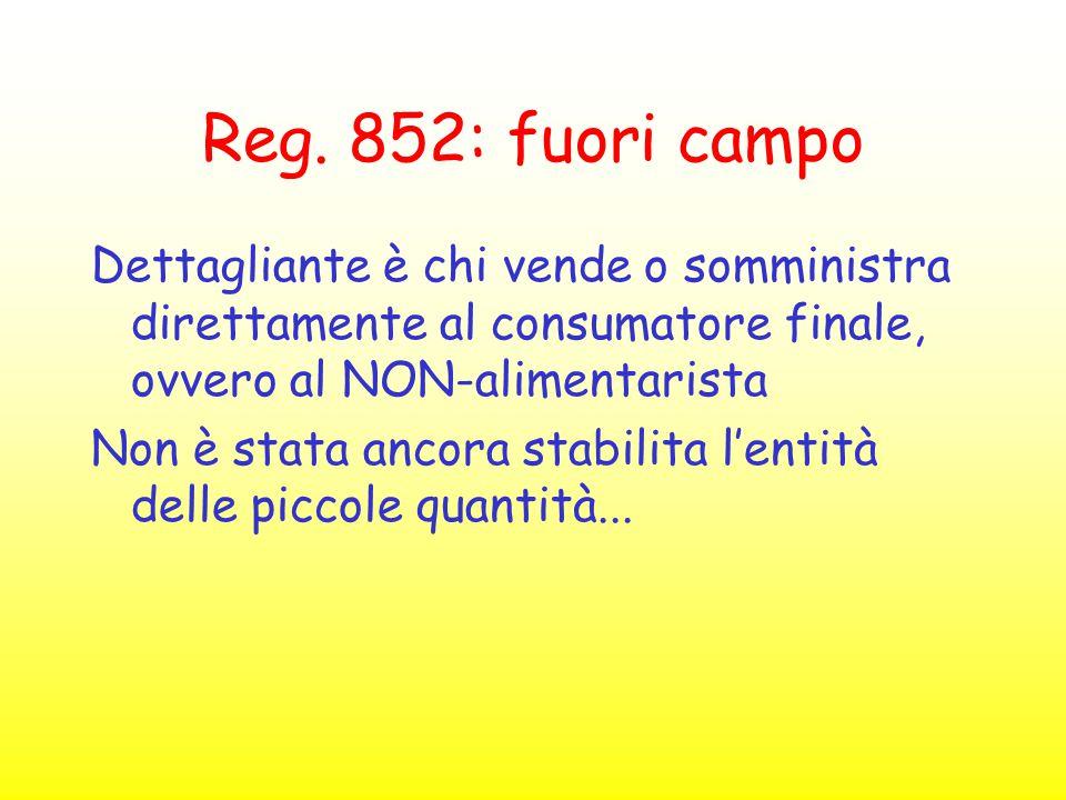 Reg. 852: fuori campo Dettagliante è chi vende o somministra direttamente al consumatore finale, ovvero al NON-alimentarista Non è stata ancora stabil