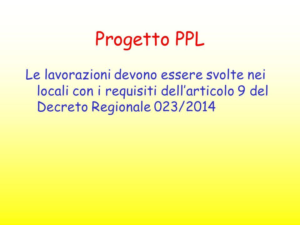 Progetto PPL Le lavorazioni devono essere svolte nei locali con i requisiti dell'articolo 9 del Decreto Regionale 023/2014