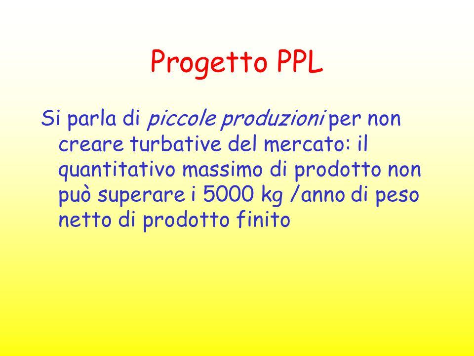 Progetto PPL Si parla di piccole produzioni per non creare turbative del mercato: il quantitativo massimo di prodotto non può superare i 5000 kg /anno