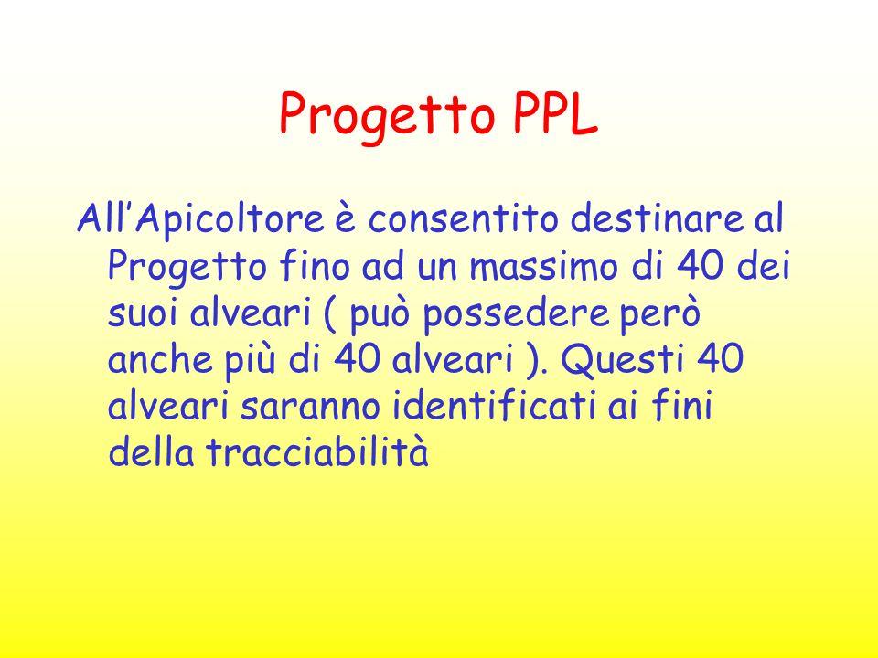 Progetto PPL All'Apicoltore è consentito destinare al Progetto fino ad un massimo di 40 dei suoi alveari ( può possedere però anche più di 40 alveari