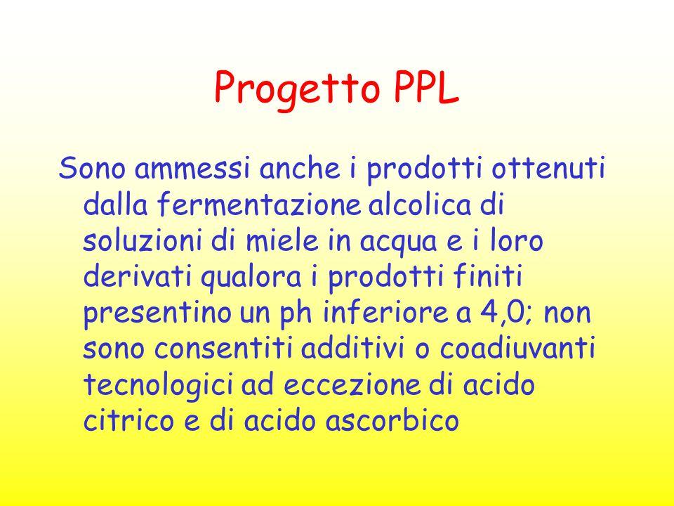 Progetto PPL Sono ammessi anche i prodotti ottenuti dalla fermentazione alcolica di soluzioni di miele in acqua e i loro derivati qualora i prodotti f