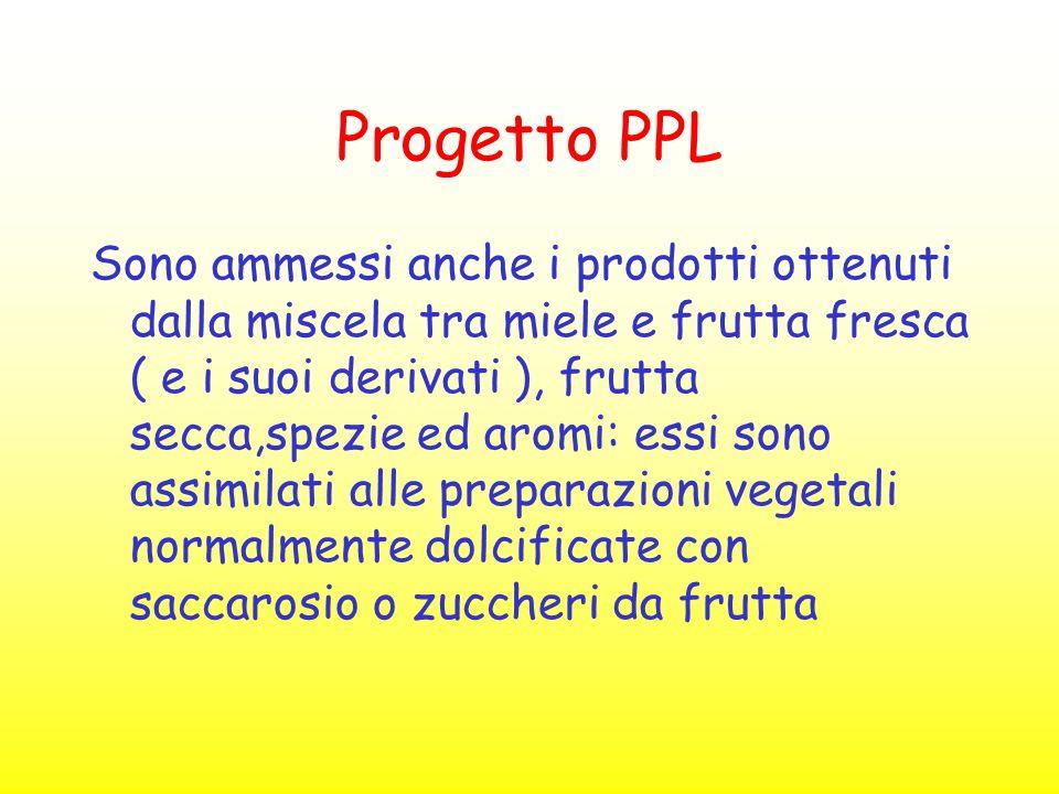 Progetto PPL Sono ammessi anche i prodotti ottenuti dalla miscela tra miele e frutta fresca ( e i suoi derivati ), frutta secca,spezie ed aromi: essi