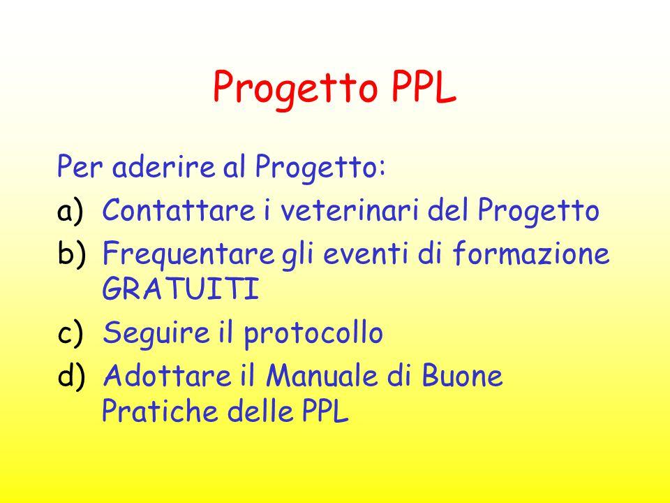 Progetto PPL Per aderire al Progetto: a)Contattare i veterinari del Progetto b)Frequentare gli eventi di formazione GRATUITI c)Seguire il protocollo d