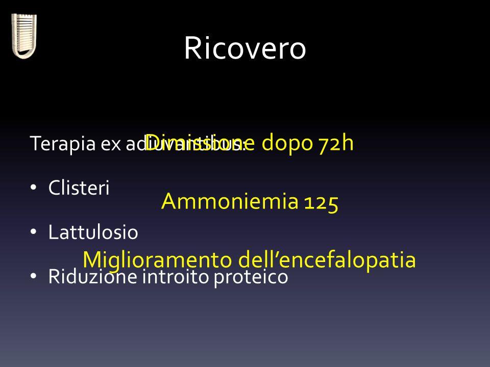 Ricovero Terapia ex adiuvantibus: Clisteri Lattulosio Riduzione introito proteico Dimissione dopo 72h Ammoniemia 125 Miglioramento dell'encefalopatia
