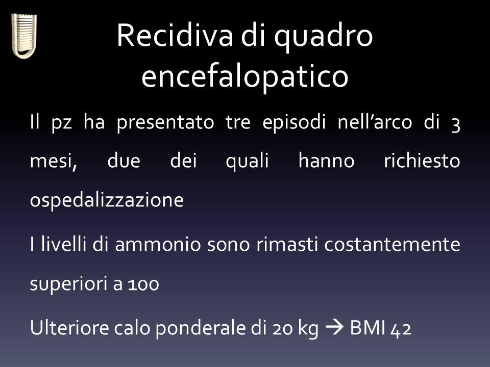 Recidiva di quadro encefalopatico Il pz ha presentato tre episodi nell'arco di 3 mesi, due dei quali hanno richiesto ospedalizzazione I livelli di amm
