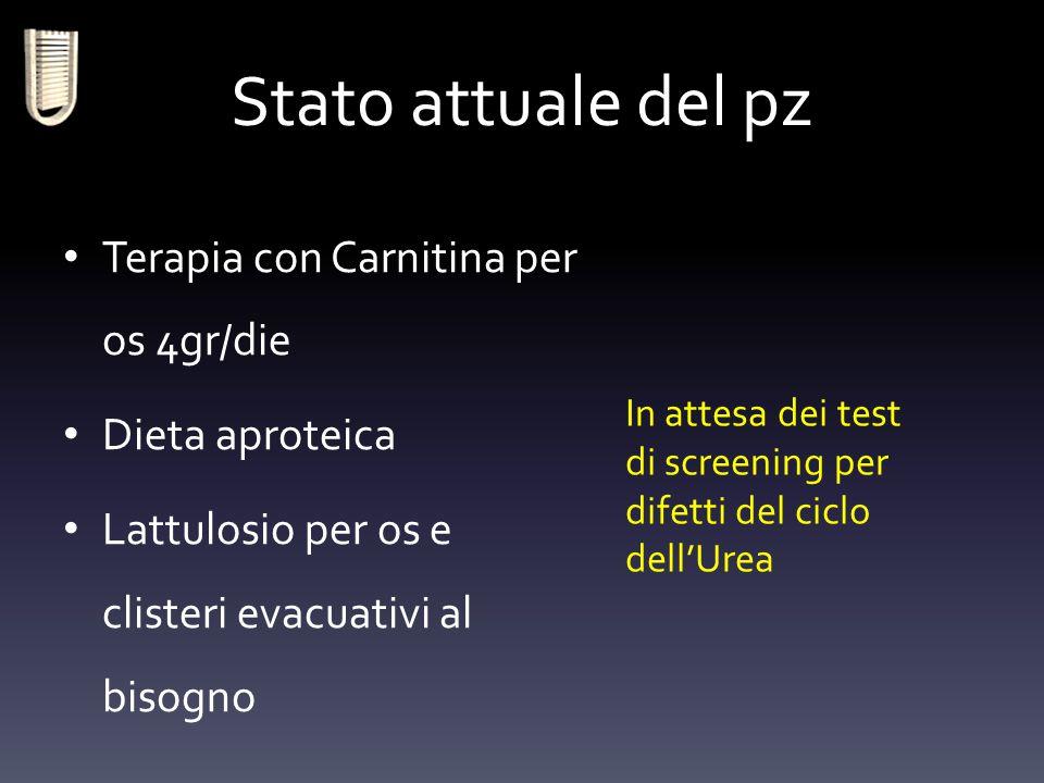 Stato attuale del pz Terapia con Carnitina per os 4gr/die Dieta aproteica Lattulosio per os e clisteri evacuativi al bisogno In attesa dei test di scr