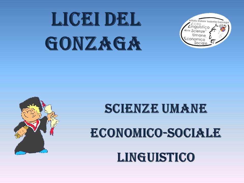 Scienze Umane economico-sociale Linguistico licei del gonzaga