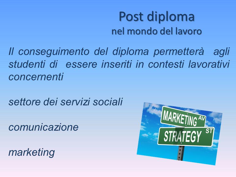 Post diploma nel mondo del lavoro Il conseguimento del diploma permetterà agli studenti di essere inseriti in contesti lavorativi concernenti settore