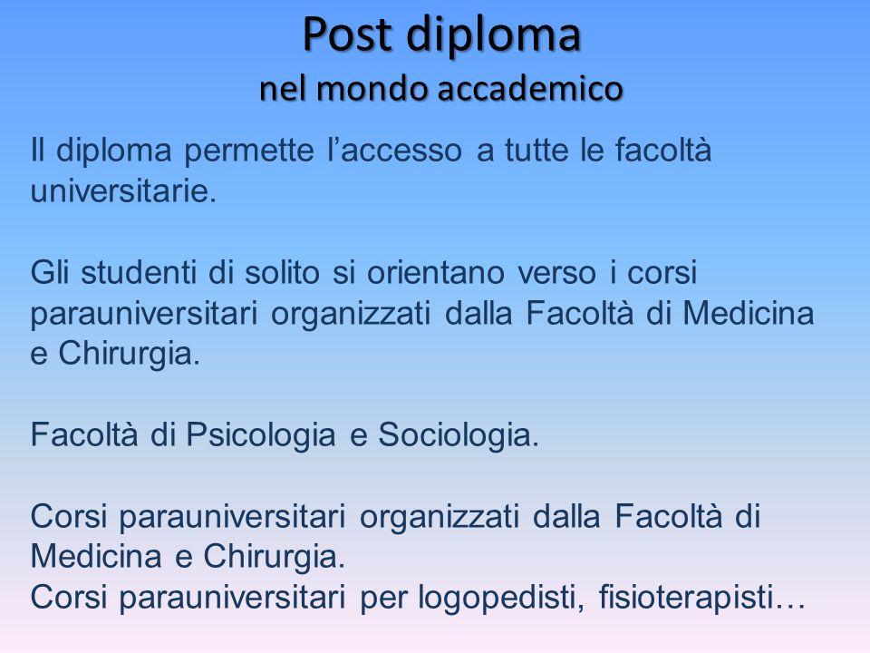 Post diploma nel mondo accademico Il diploma permette l'accesso a tutte le facoltà universitarie. Gli studenti di solito si orientano verso i corsi pa