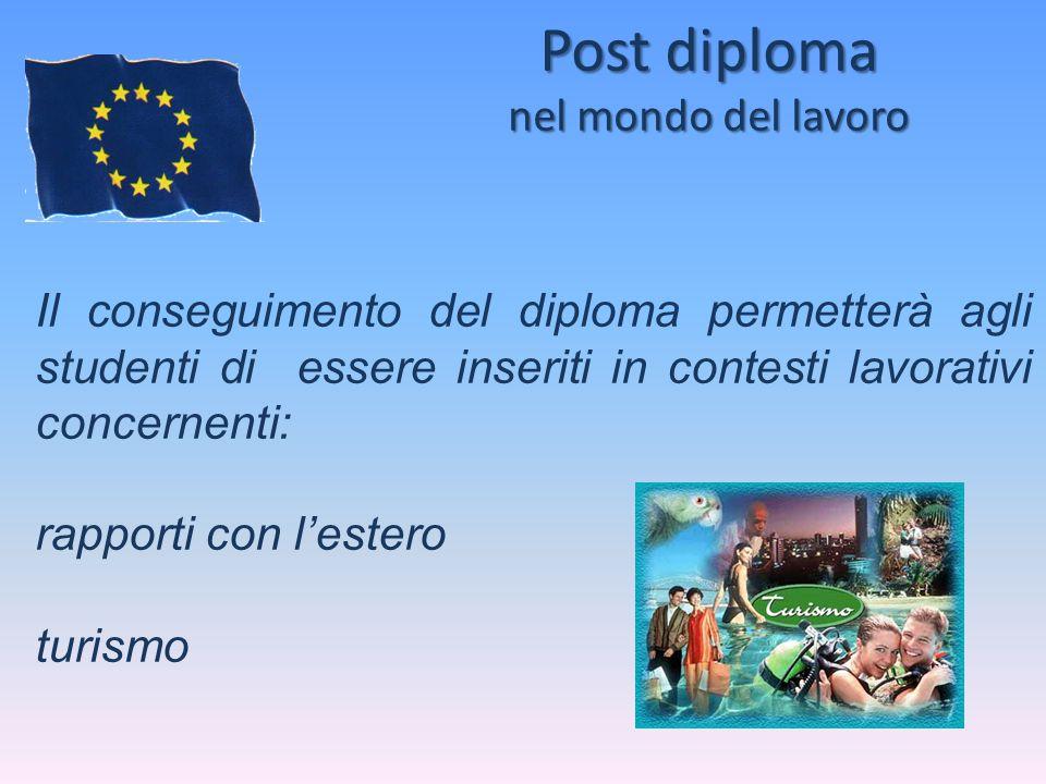 Post diploma nel mondo del lavoro Il conseguimento del diploma permetterà agli studenti di essere inseriti in contesti lavorativi concernenti: rapport
