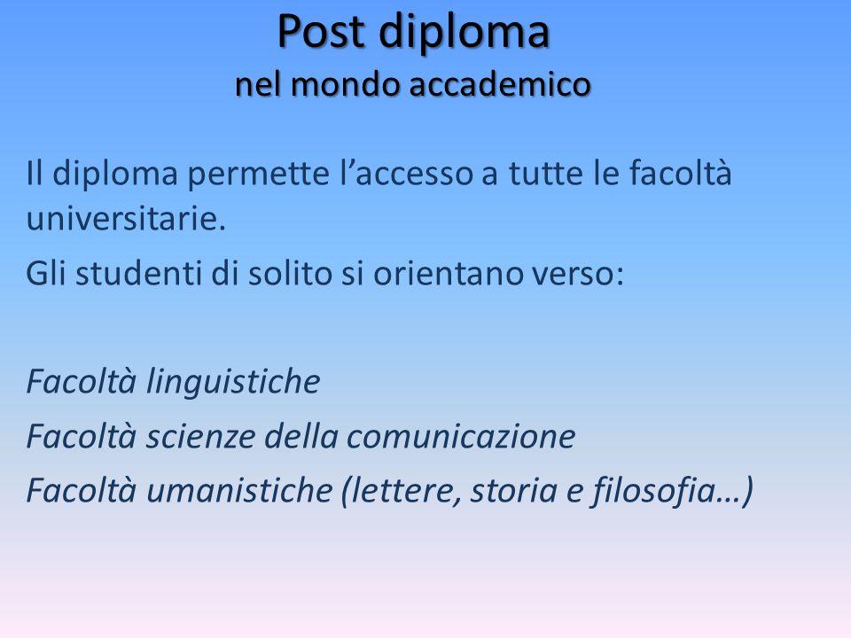 Il diploma permette l'accesso a tutte le facoltà universitarie. Gli studenti di solito si orientano verso: Facoltà linguistiche Facoltà scienze della