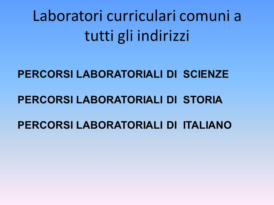 Laboratori curriculari comuni a tutti gli indirizzi PERCORSI LABORATORIALI DI SCIENZE PERCORSI LABORATORIALI DI STORIA PERCORSI LABORATORIALI DI ITALI