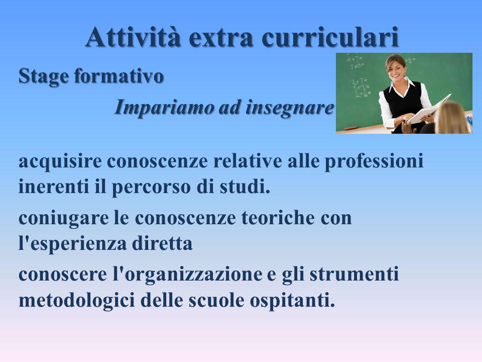 Attività extra curriculari Stage formativo Impariamo ad insegnare acquisire conoscenze relative alle professioni inerenti il percorso di studi. coniug