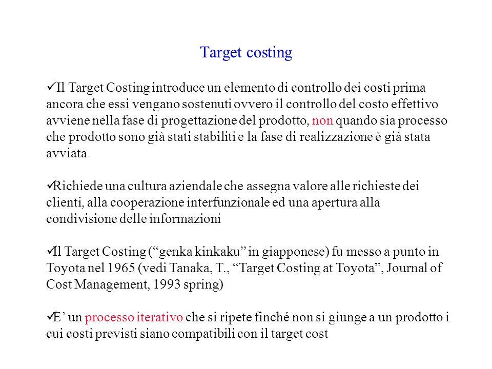 Target costing Il Target Costing introduce un elemento di controllo dei costi prima ancora che essi vengano sostenuti ovvero il controllo del costo effettivo avviene nella fase di progettazione del prodotto, non quando sia processo che prodotto sono già stati stabiliti e la fase di realizzazione è già stata avviata Richiede una cultura aziendale che assegna valore alle richieste dei clienti, alla cooperazione interfunzionale ed una apertura alla condivisione delle informazioni Il Target Costing ( genka kinkaku in giapponese) fu messo a punto in Toyota nel 1965 (vedi Tanaka, T., Target Costing at Toyota , Journal of Cost Management, 1993 spring) E' un processo iterativo che si ripete finché non si giunge a un prodotto i cui costi previsti siano compatibili con il target cost