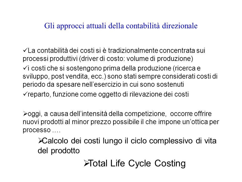 Gli approcci attuali della contabilità direzionale La contabilità dei costi si è tradizionalmente concentrata sui processi produttivi (driver di costo