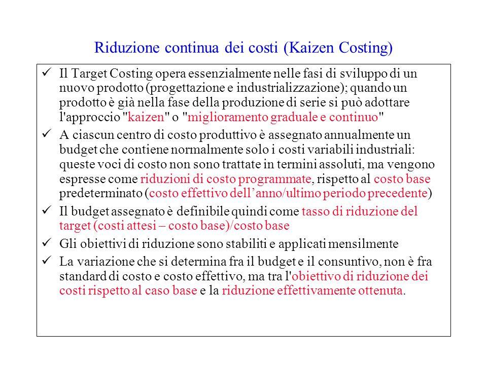Riduzione continua dei costi (Kaizen Costing) Il Target Costing opera essenzialmente nelle fasi di sviluppo di un nuovo prodotto (progettazione e indu