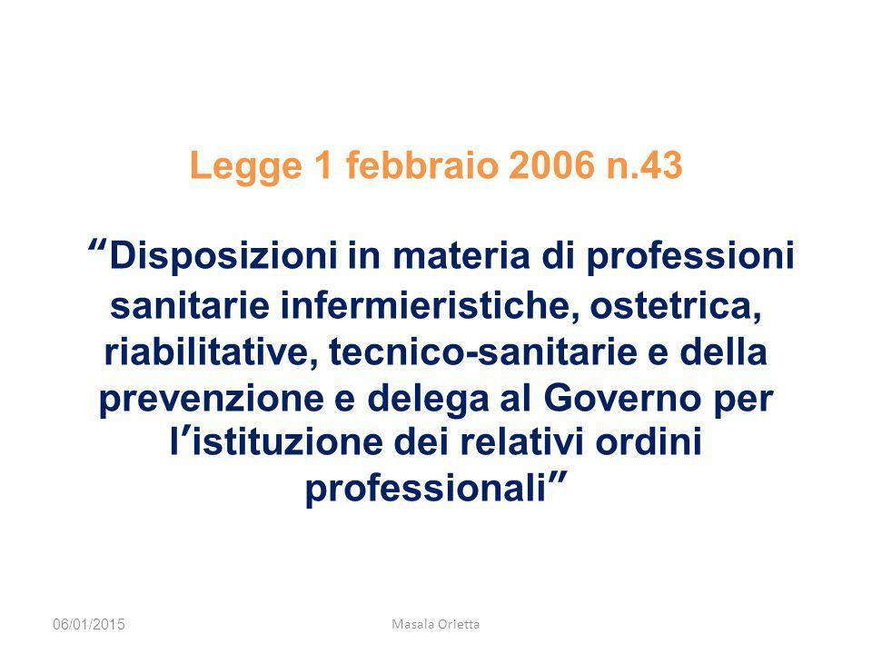 """Legge 1 febbraio 2006 n.43 """"Disposizioni in materia di professioni sanitarie infermieristiche, ostetrica, riabilitative, tecnico-sanitarie e della pre"""