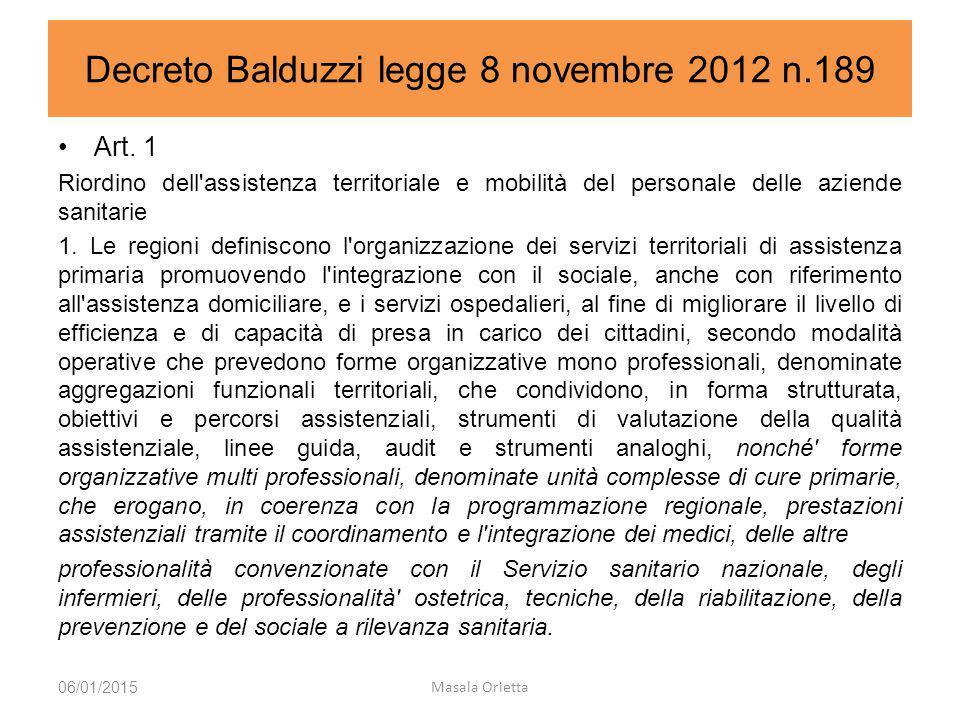 Decreto Balduzzi legge 8 novembre 2012 n.189 06/01/2015 Masala Orietta Art. 1 Riordino dell'assistenza territoriale e mobilità del personale delle azi