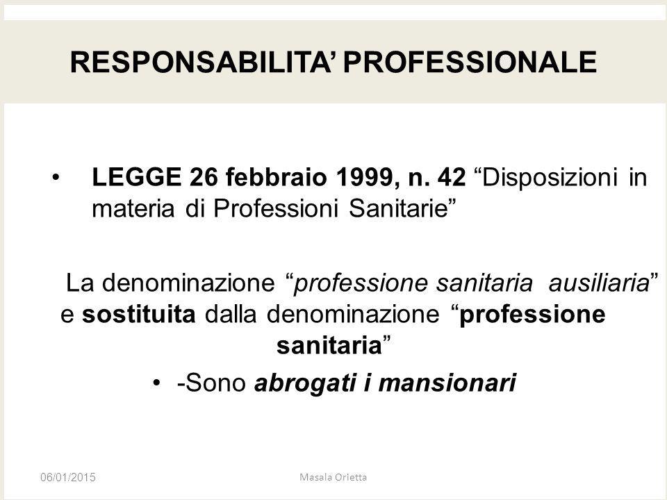 """LEGGE 26 febbraio 1999, n. 42 """"Disposizioni in materia di Professioni Sanitarie"""" La denominazione """"professione sanitaria ausiliaria"""" e sostituita dall"""