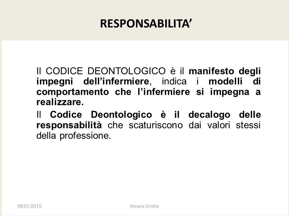 RESPONSABILITA' Il CODICE DEONTOLOGICO è il manifesto degli impegni dell'infermiere, indica i modelli di comportamento che l'infermiere si impegna a r