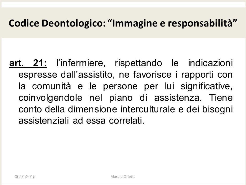 CODICE DEONTOLOGICO art. 21: l'infermiere, rispettando le indicazioni espresse dall'assistito, ne favorisce i rapporti con la comunità e le persone pe