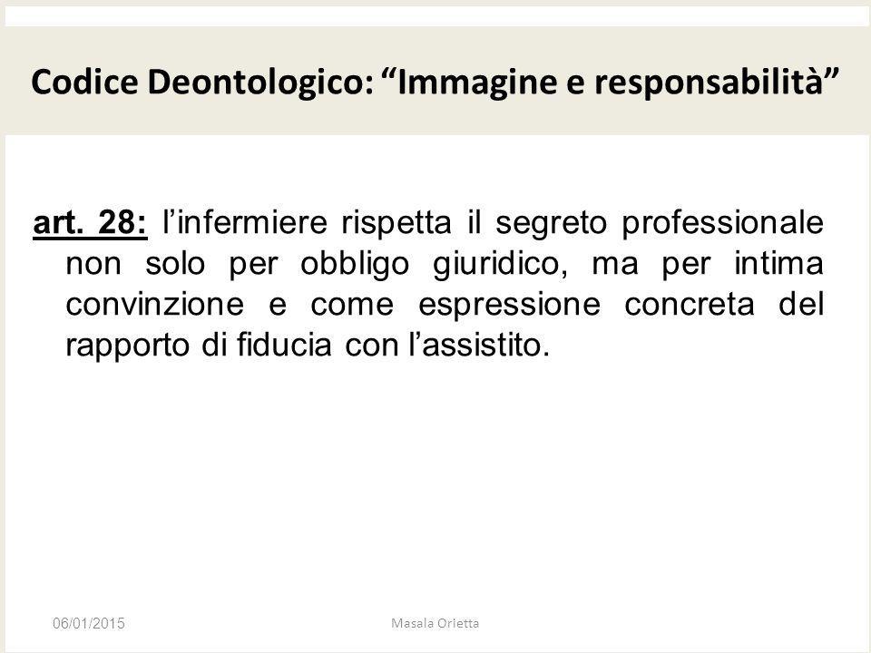 CODICE DEONTOLOGICO art. 28: l'infermiere rispetta il segreto professionale non solo per obbligo giuridico, ma per intima convinzione e come espressio