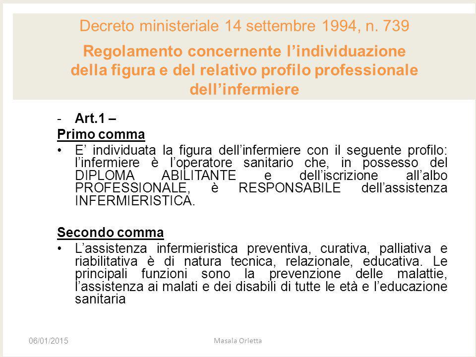 -Art.1 – Primo comma E' individuata la figura dell'infermiere con il seguente profilo: l'infermiere è l'operatore sanitario che, in possesso del DIPLO