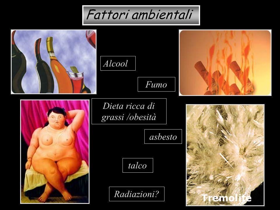 Fattori ambientali Alcool Fumo asbesto Dieta ricca di grassi /obesità talco Radiazioni?