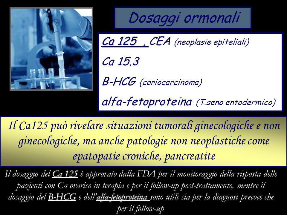 Dosaggi ormonali Ca 125, Ca 125, CEA (neoplasie epiteliali) Ca 15.3 B-HCG (coriocarcinoma) alfa-fetoproteina (T.seno entodermico) Il Ca125 può rivelar