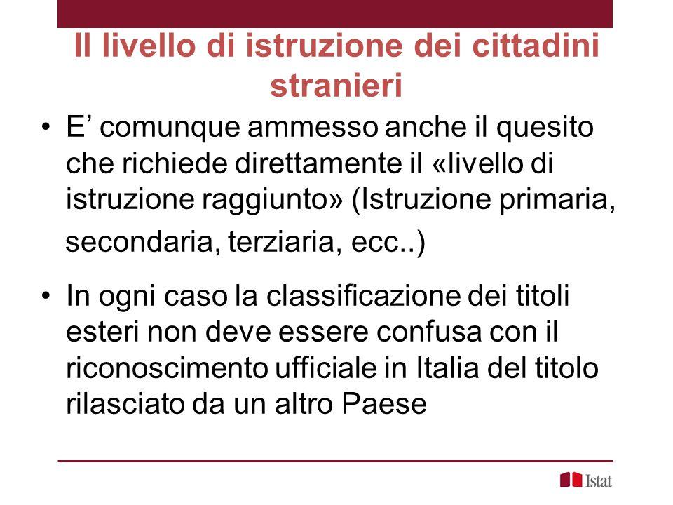 Il livello di istruzione dei cittadini stranieri E' comunque ammesso anche il quesito che richiede direttamente il «livello di istruzione raggiunto» (Istruzione primaria, secondaria, terziaria, ecc..) In ogni caso la classificazione dei titoli esteri non deve essere confusa con il riconoscimento ufficiale in Italia del titolo rilasciato da un altro Paese
