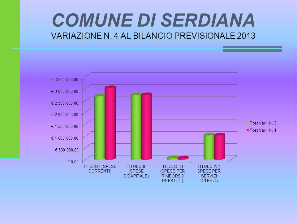 COMUNE DI SERDIANA VARIAZIONE N. 4 AL BILANCIO PREVISIONALE 2013