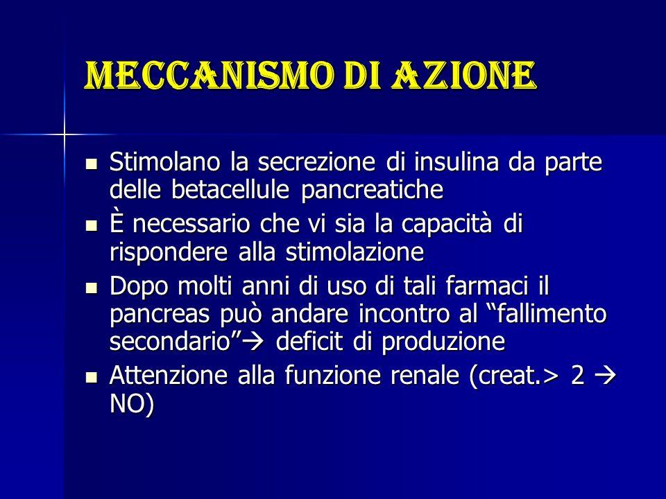 Meccanismo di azione Stimolano la secrezione di insulina da parte delle betacellule pancreatiche Stimolano la secrezione di insulina da parte delle be