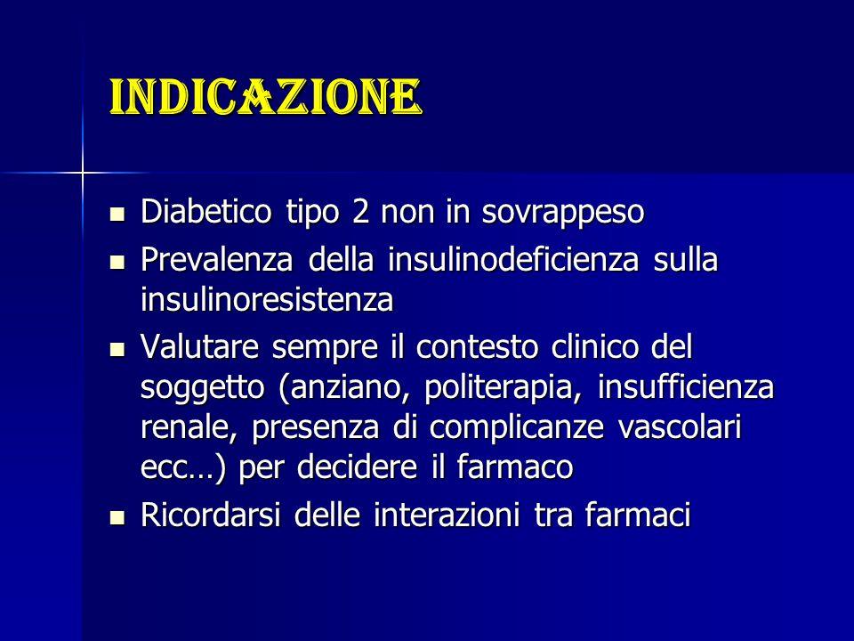indicazione Diabetico tipo 2 non in sovrappeso Diabetico tipo 2 non in sovrappeso Prevalenza della insulinodeficienza sulla insulinoresistenza Prevale