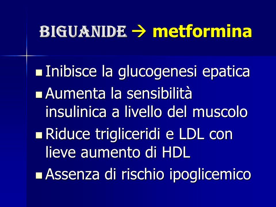 biguanide  metformina biguanide  metformina Inibisce la glucogenesi epatica Inibisce la glucogenesi epatica Aumenta la sensibilità insulinica a live