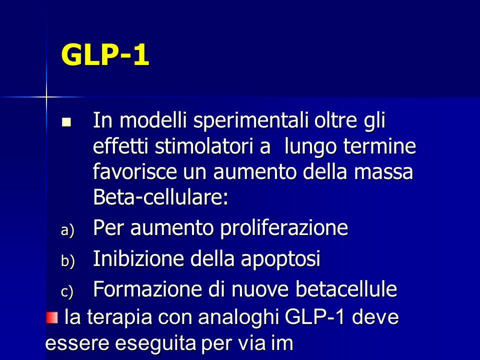 GLP-1 In modelli sperimentali oltre gli effetti stimolatori a lungo termine favorisce un aumento della massa Beta-cellulare: In modelli sperimentali o
