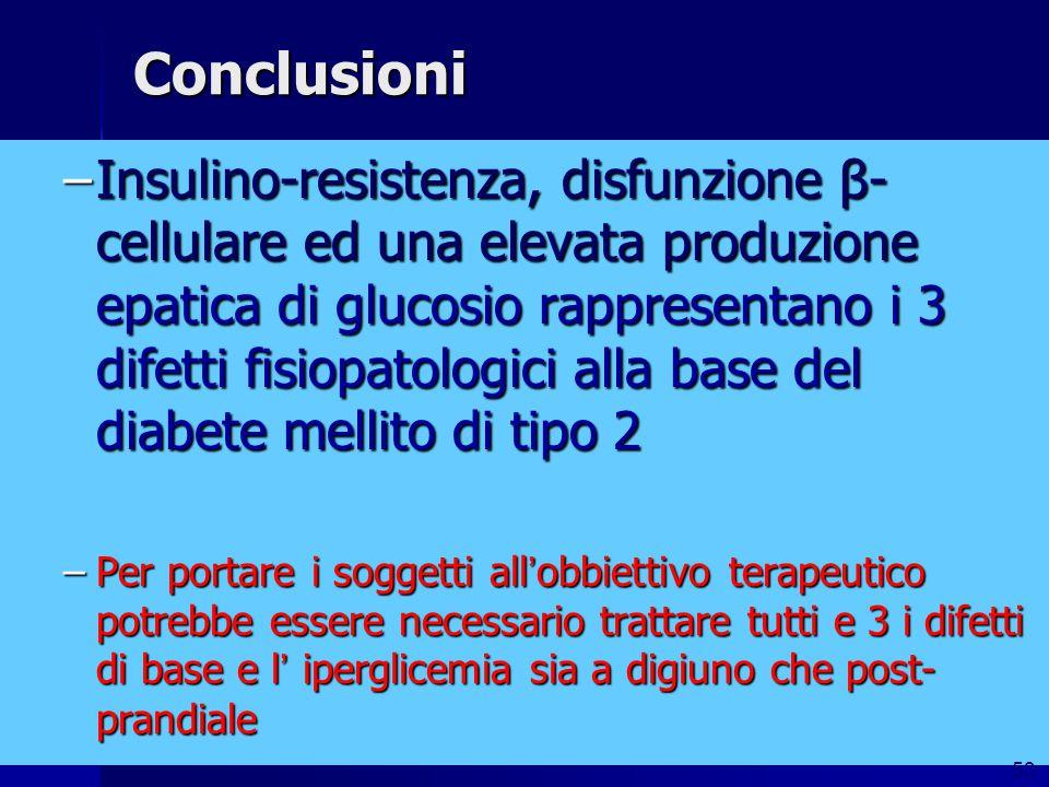 Conclusioni –Insulino-resistenza, disfunzione β- cellulare ed una elevata produzione epatica di glucosio rappresentano i 3 difetti fisiopatologici all