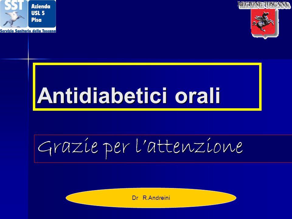 Antidiabetici orali Grazie per l'attenzione Dr R.Andreini
