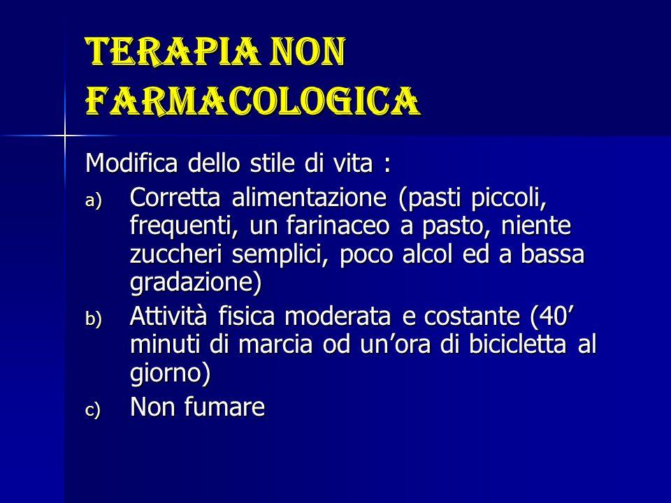 Terapia non farmacologica Modifica dello stile di vita : a) Corretta alimentazione (pasti piccoli, frequenti, un farinaceo a pasto, niente zuccheri se