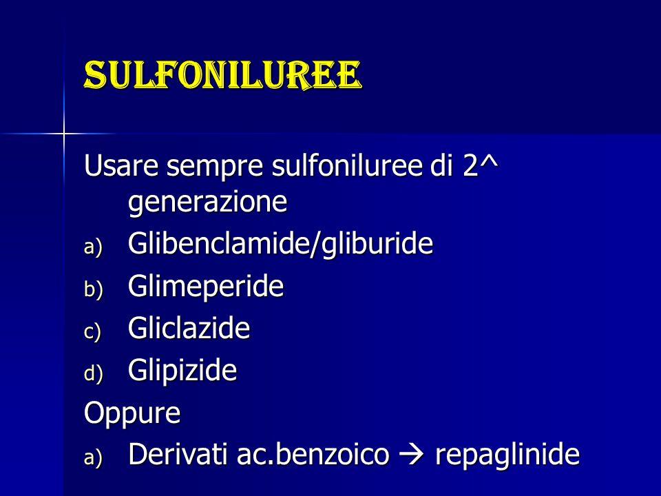 sulfoniluree Usare sempre sulfoniluree di 2^ generazione a) Glibenclamide/gliburide b) Glimeperide c) Gliclazide d) Glipizide Oppure a) Derivati ac.be