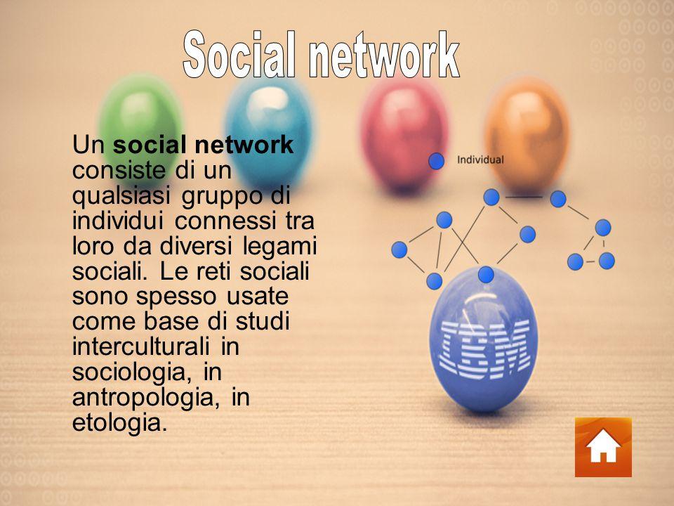 Un social network consiste di un qualsiasi gruppo di individui connessi tra loro da diversi legami sociali.