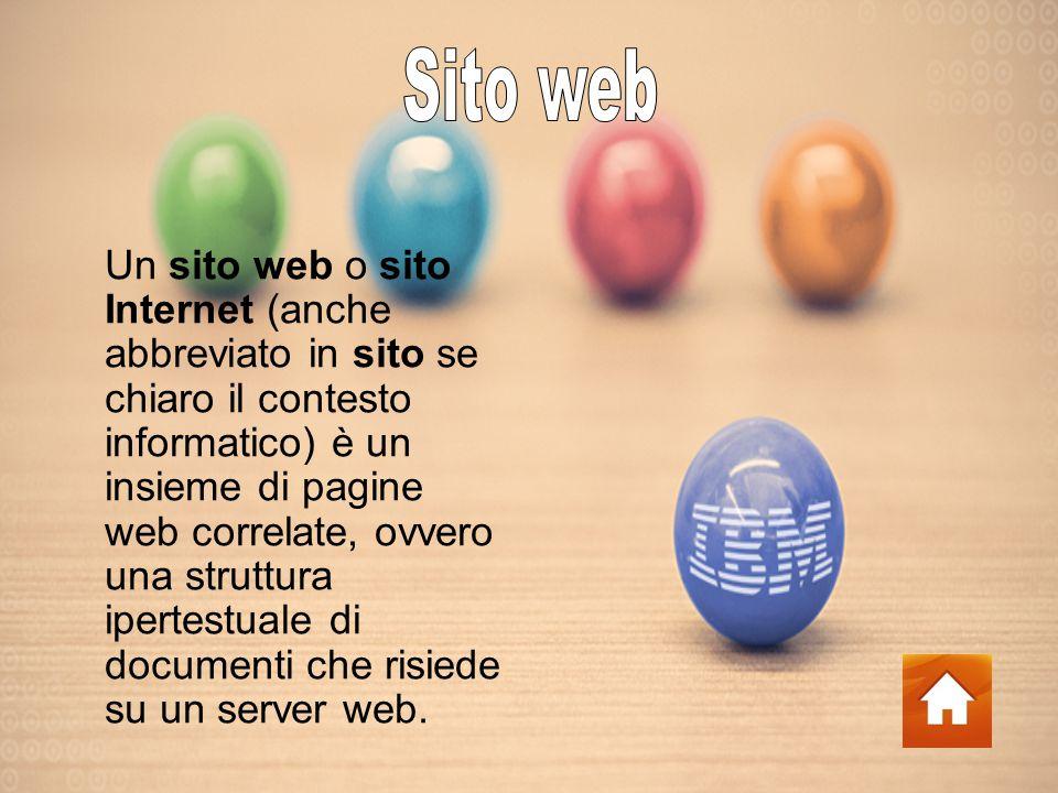 Un sito web o sito Internet (anche abbreviato in sito se chiaro il contesto informatico) è un insieme di pagine web correlate, ovvero una struttura ipertestuale di documenti che risiede su un server web.