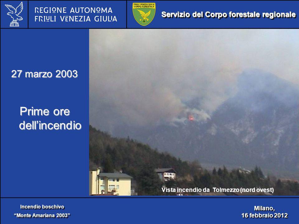 Servizio del Corpo forestale regionale Incendio boschivo Monte Amariana 2003 Incendio boschivo Monte Amariana 2003 Milano, 16 febbraio 2012 Milano, 16 febbraio 2012 27 marzo 2003 Prime ore dell'incendio Vista incendio da Tolmezzo (nord ovest)